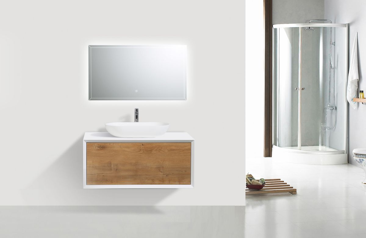 Wall mounted bathroom furniture set FIONA 900 - matte white cabinet and oak drawer - optional mirror  – Bild 2