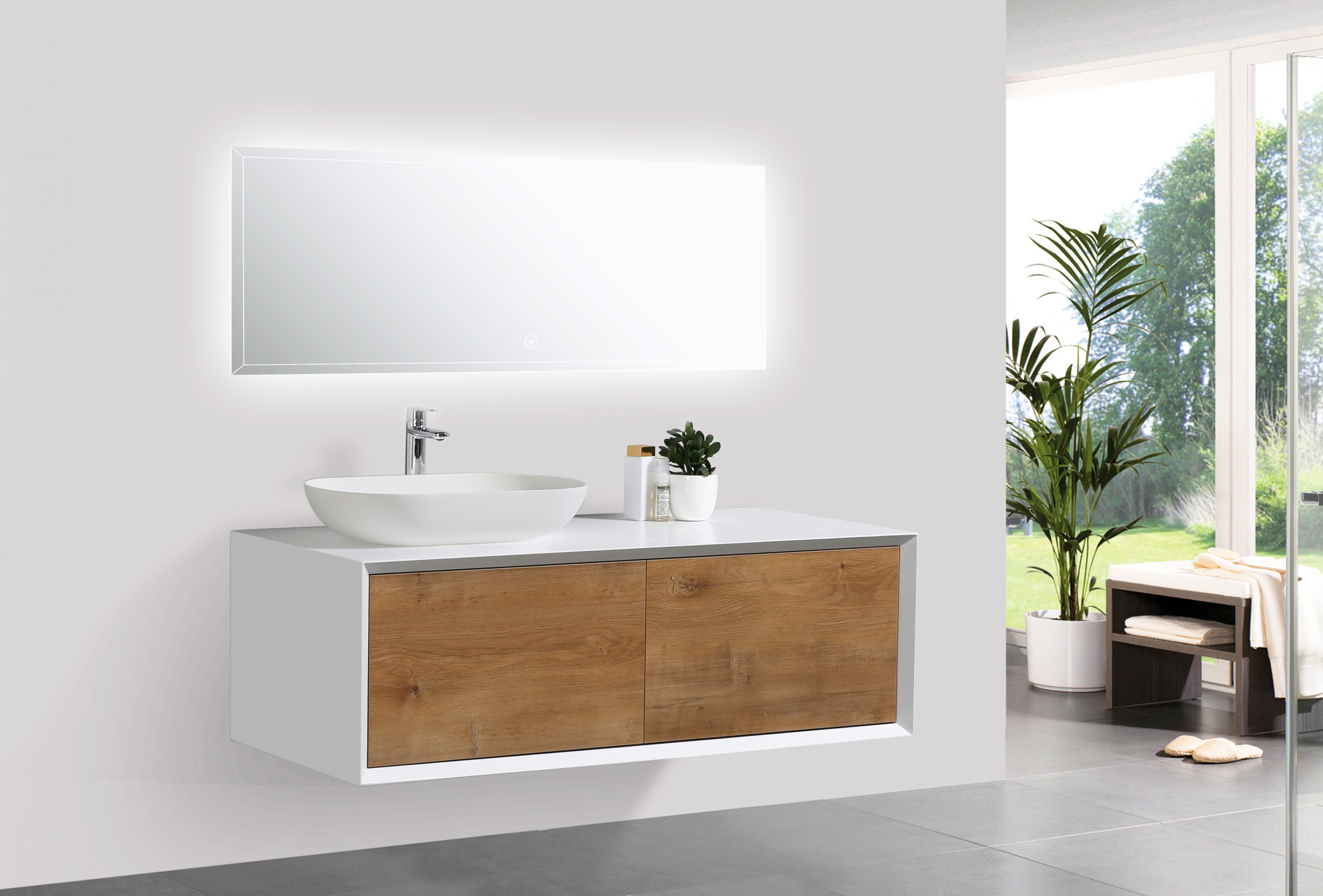 Bathroom Furniture Set Fiona 1200 White Matte Body And Oak Drawers
