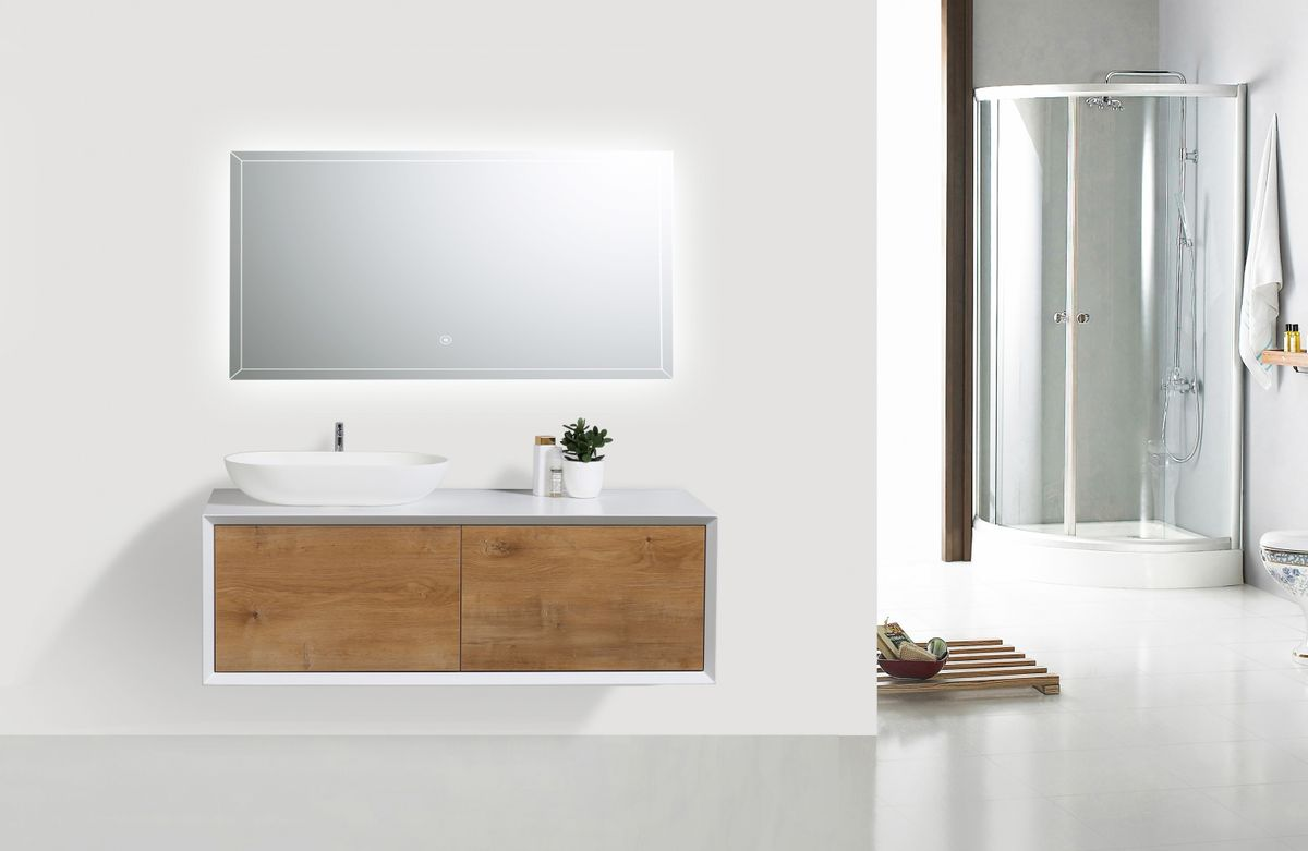 Bathroom furniture set FIONA 1200 white matte body and oak drawers - mirror and basin optional – Bild 2