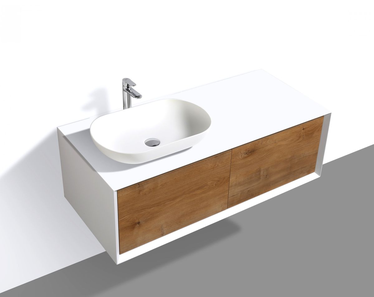 Bathroom furniture set FIONA 1200 white matte body and oak drawers - mirror and basin optional – Bild 4