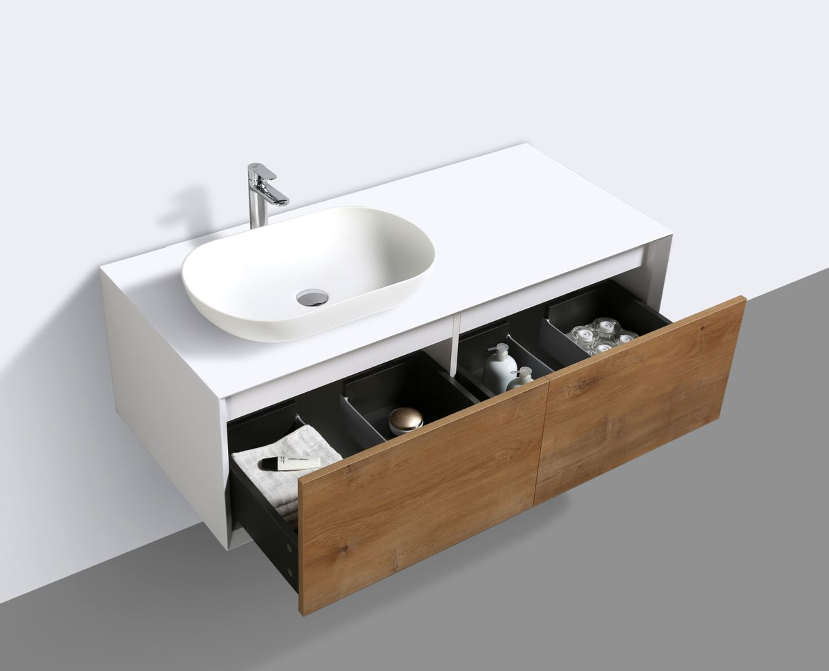 Bathroom furniture set FIONA 1200 white matte body and oak drawers - mirror and basin optional – Bild 6