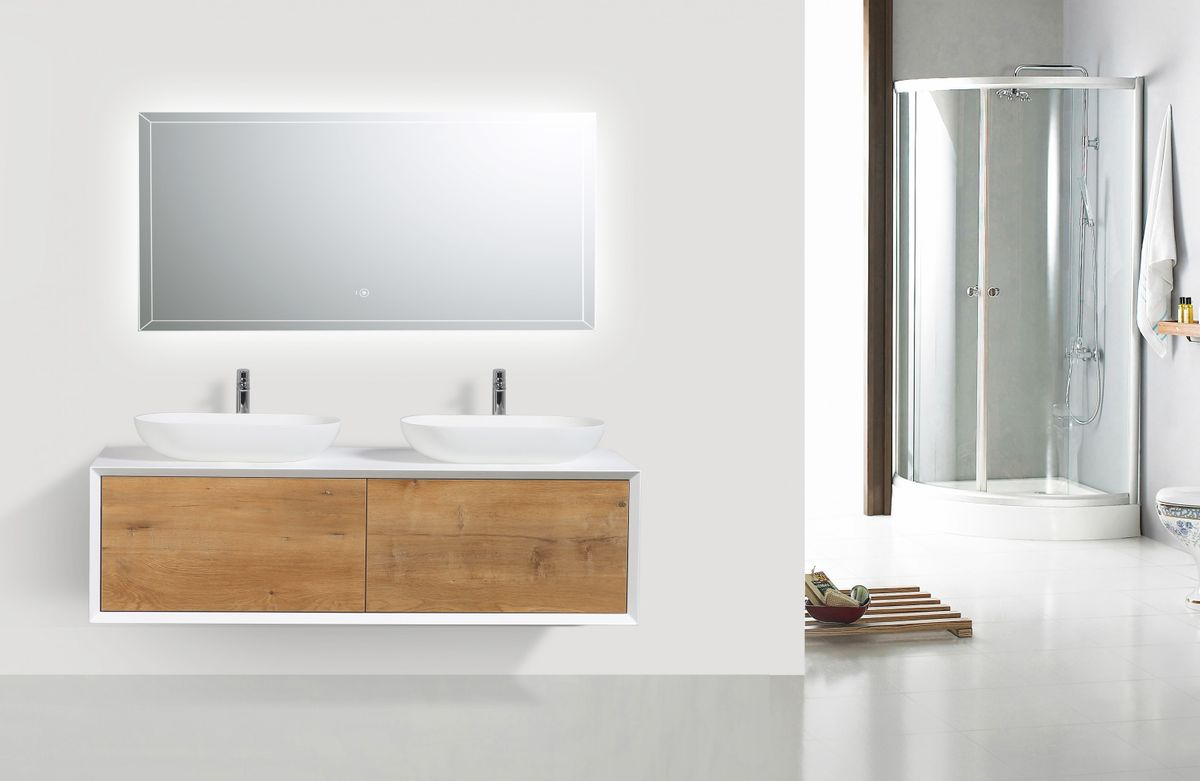 Bathroom furniture set FIONA 1400 white matte body and oak drawers - mirror optional – Bild 2