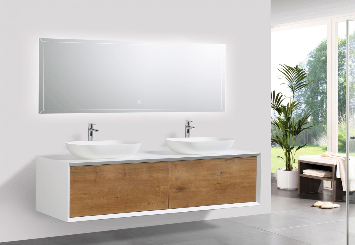 Bathroom furniture set FIONA 1600 white matte body and oak drawers - mirror and basin optional – Bild 1