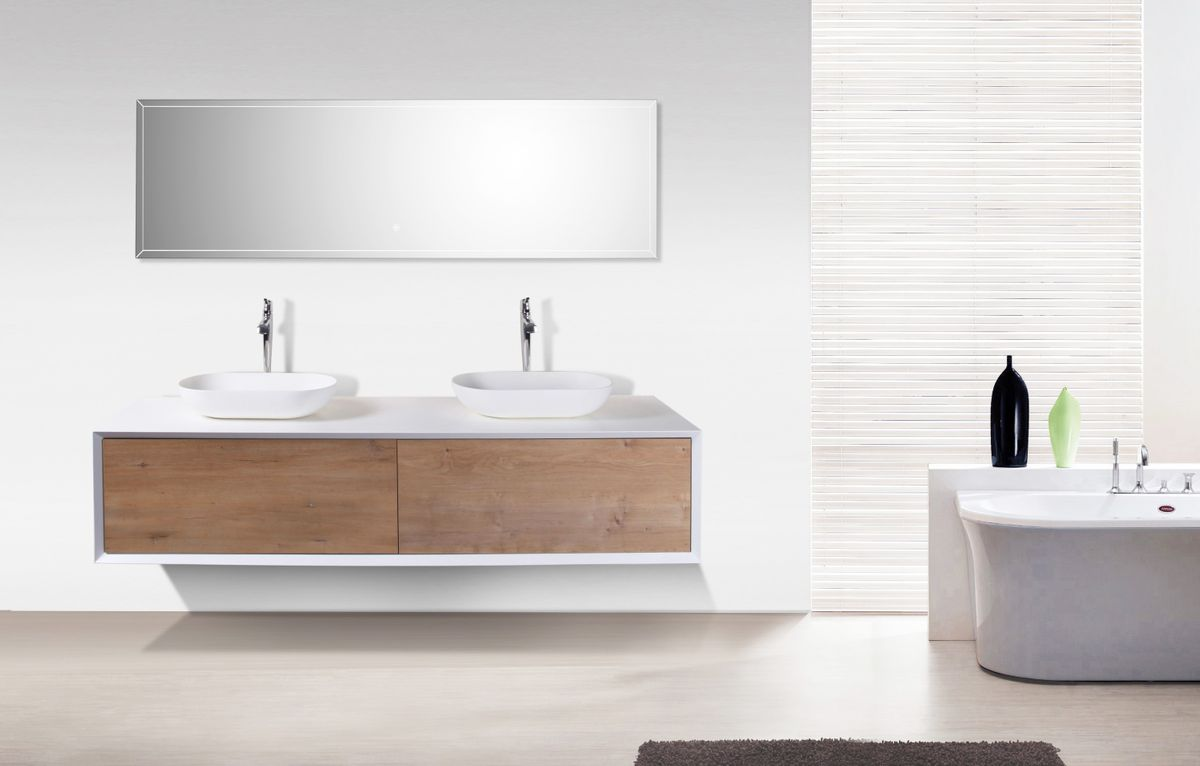 Bathroom furniture set FIONA 1800 white matte body and oak drawers - mirror and basin optional – Bild 1