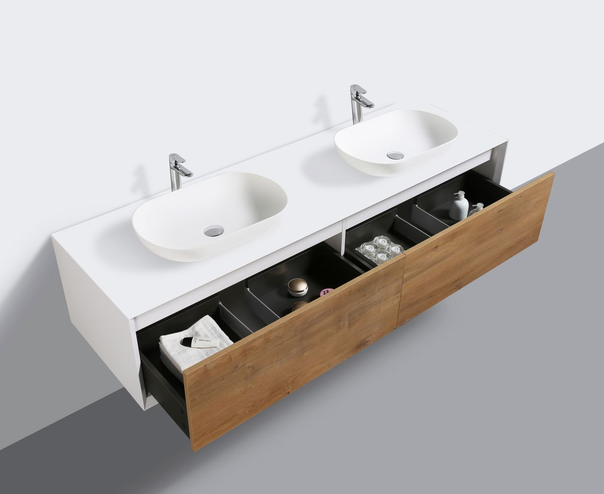 Bathroom furniture set FIONA 1800 white matte body and oak drawers - mirror and basin optional – Bild 3