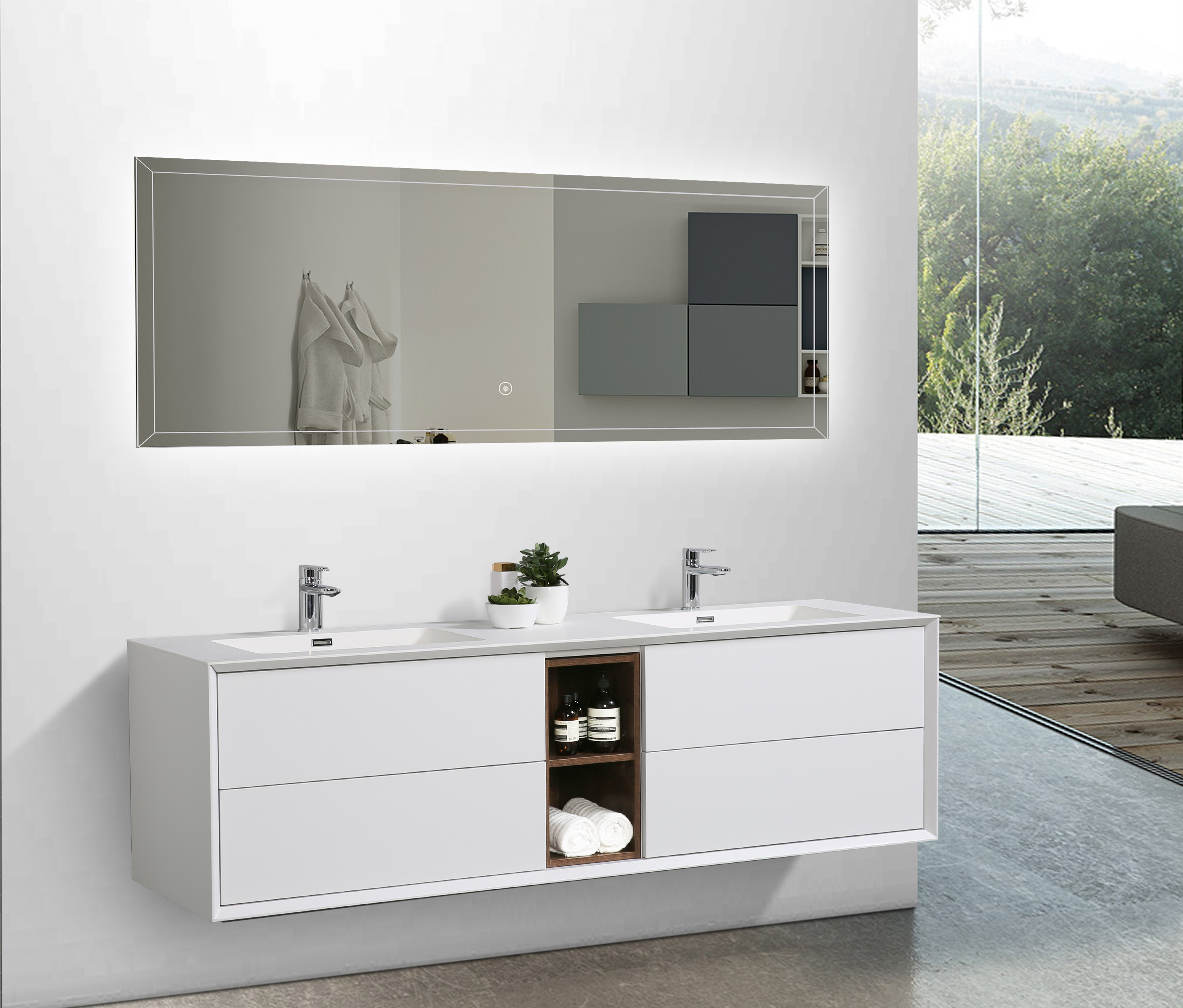 meuble de salle de bain flora 1900 blanc mat avec. Black Bedroom Furniture Sets. Home Design Ideas