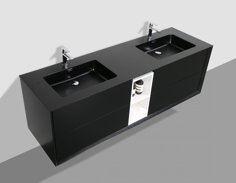 meuble de salle de bain flora 1900 noir mat avec niche. Black Bedroom Furniture Sets. Home Design Ideas