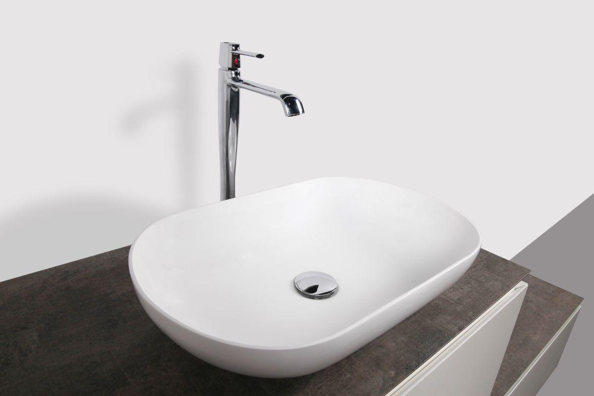 Vasque à poser O-540 en fonte minérale (pierre de synthèse) - en blanc mat - 54 x 34 x 10,5 cm – Bild 6