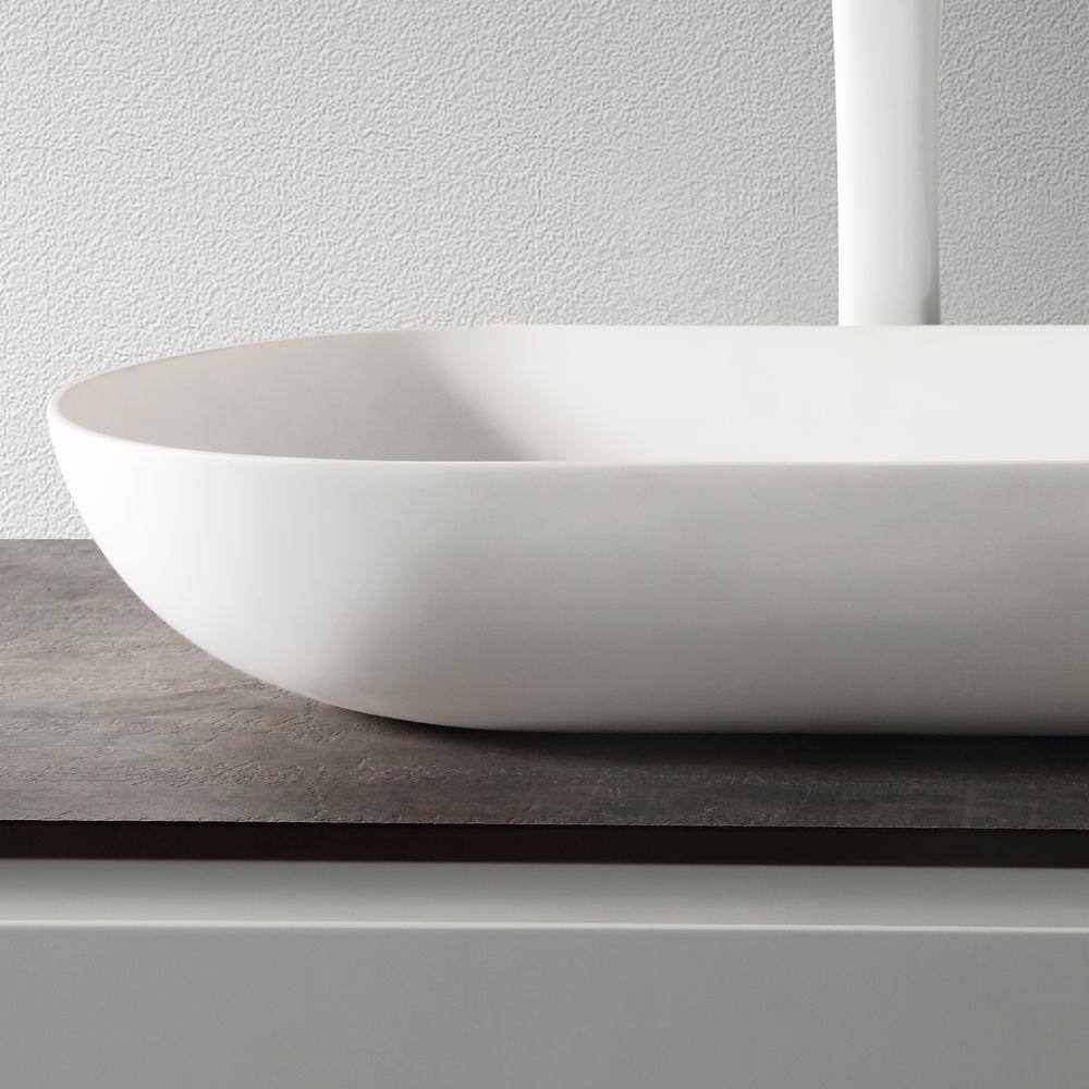 Vasque à poser O-540 en fonte minérale (pierre de synthèse) - en blanc mat - 54 x 34 x 10,5 cm – Bild 5