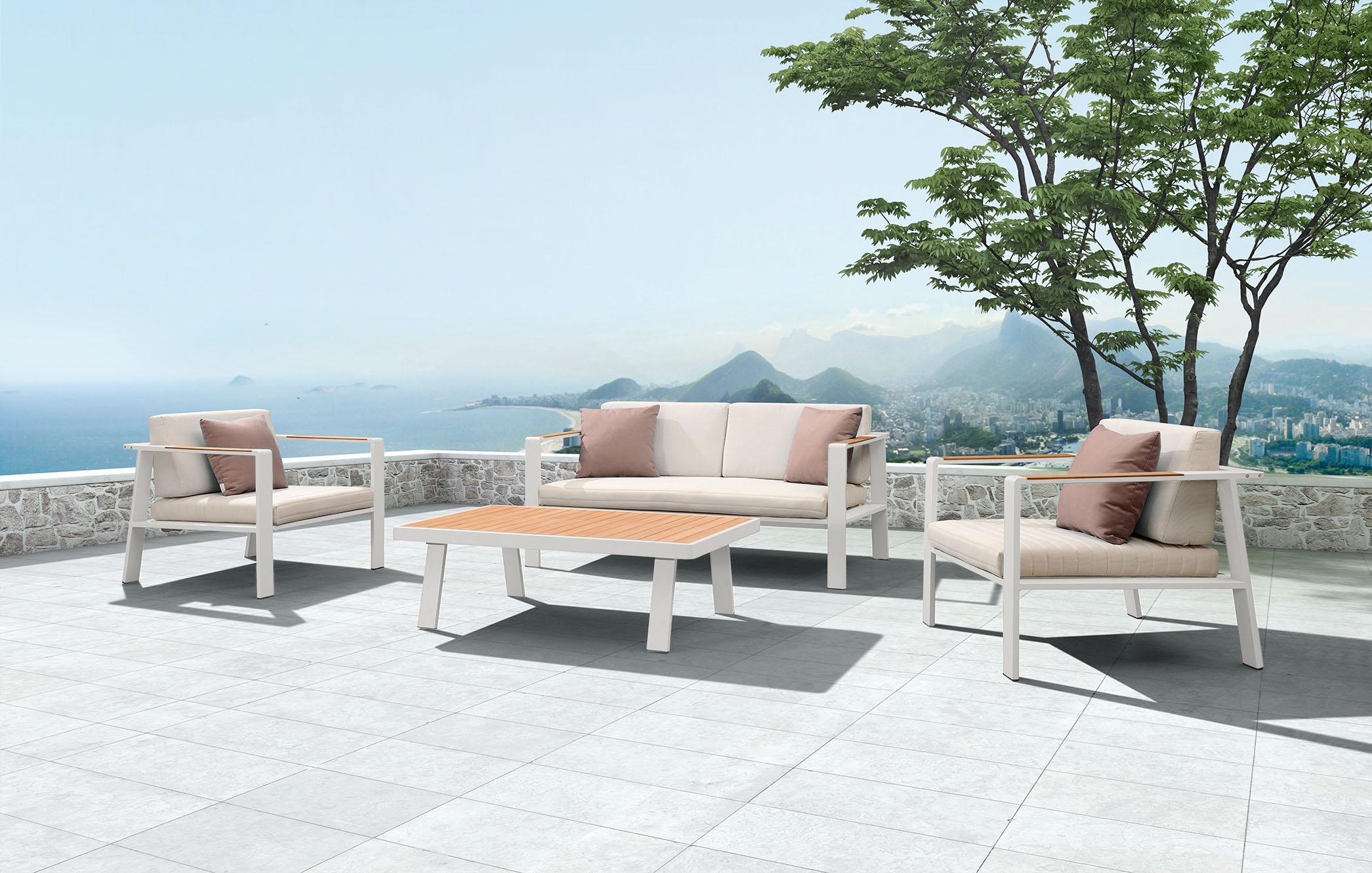 BERNSTEIN Gartenmöbel-Set Gartenlounge NOFI - 1x Zweier-Sofa, 2x Einsitzer-Sofa & 1x Loungetisch (4-teilig)