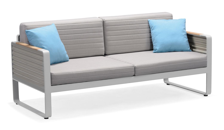 Gartenmöbel-Set Gartensofa AIRPORT - Doppelsofa Alu/Textil Grau (2-teilig) - inkl. Gartentisch