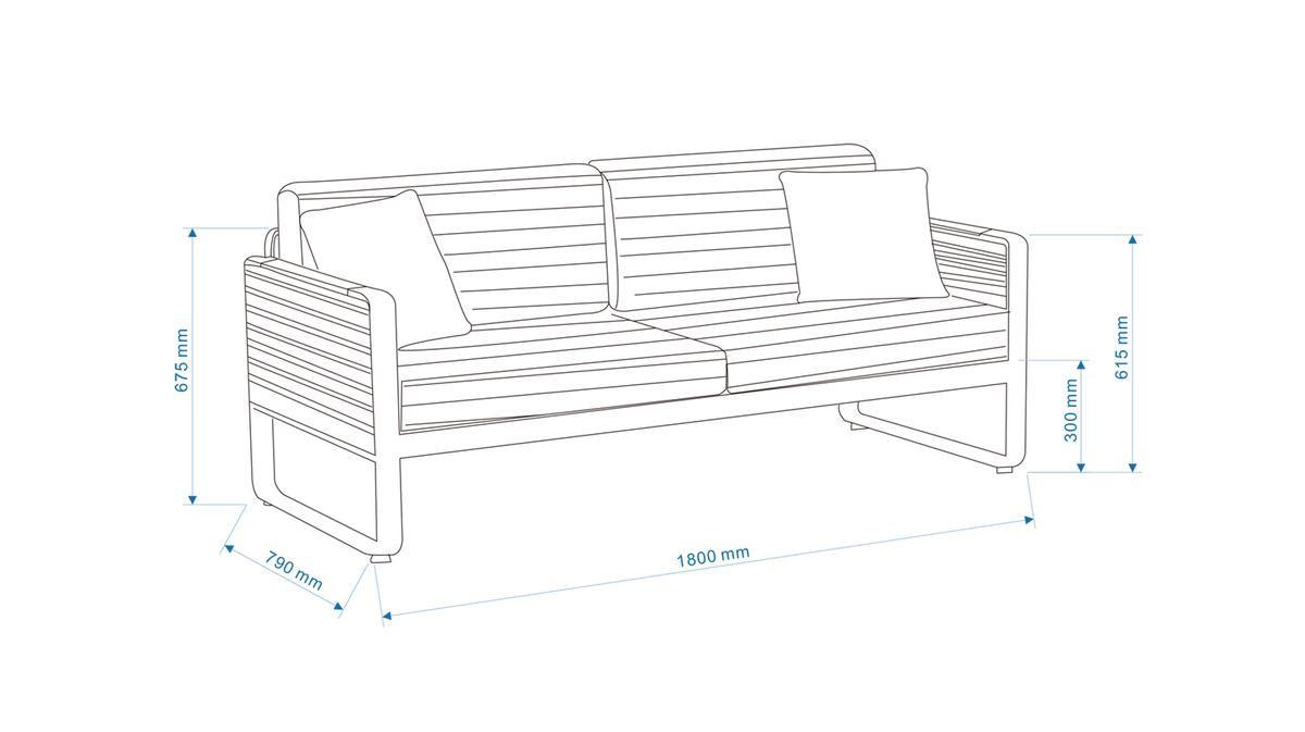 Gartenmöbel-Set Gartensofa AIRPORT - Doppelsofa Alu/Textil Grau (2-teilig) - inkl. Gartentisch – Bild 5