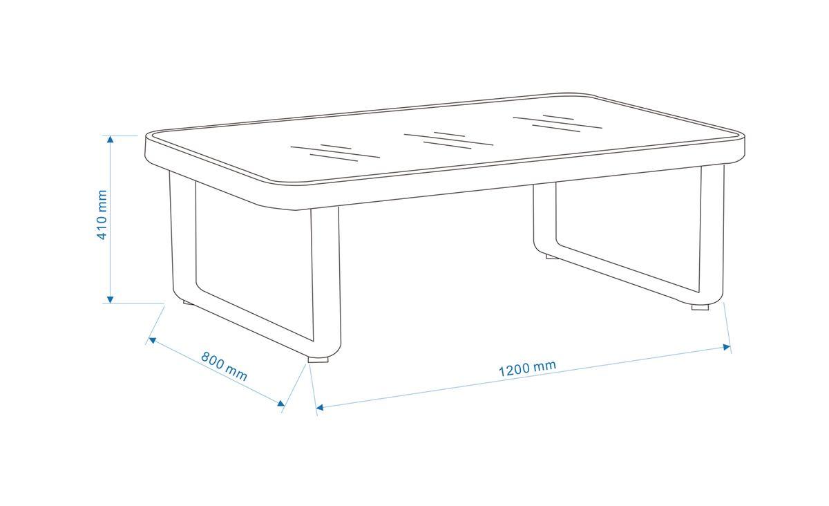 Gartenmöbel-Set Gartensofa AIRPORT - Doppelsofa Alu/Textil Grau (2-teilig) - inkl. Gartentisch – Bild 6