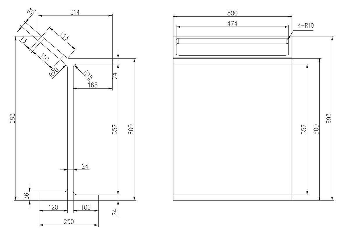 Standregal PB4004 aus Mineralguss - Mit Ablage und Handtuchhalter - Weiß matt – Bild 2