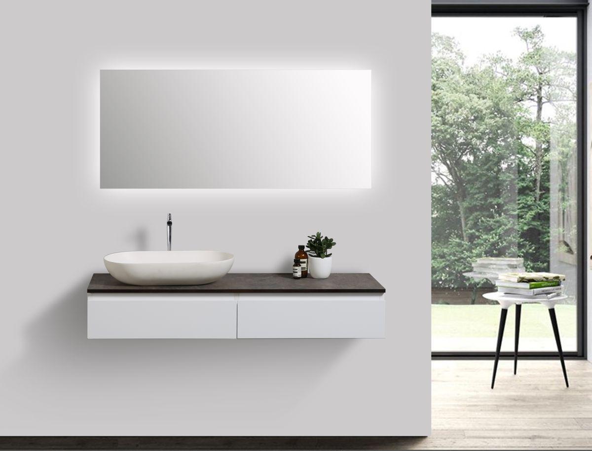 Badmöbel Vision 1200 Weiß matt - Spiegel und Aufsatzwaschbecken optional – Bild 1