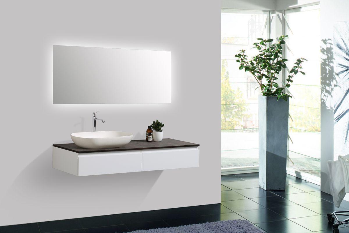 Badmöbel Vision 1200 Weiß matt - Spiegel und Aufsatzwaschbecken optional – Bild 2