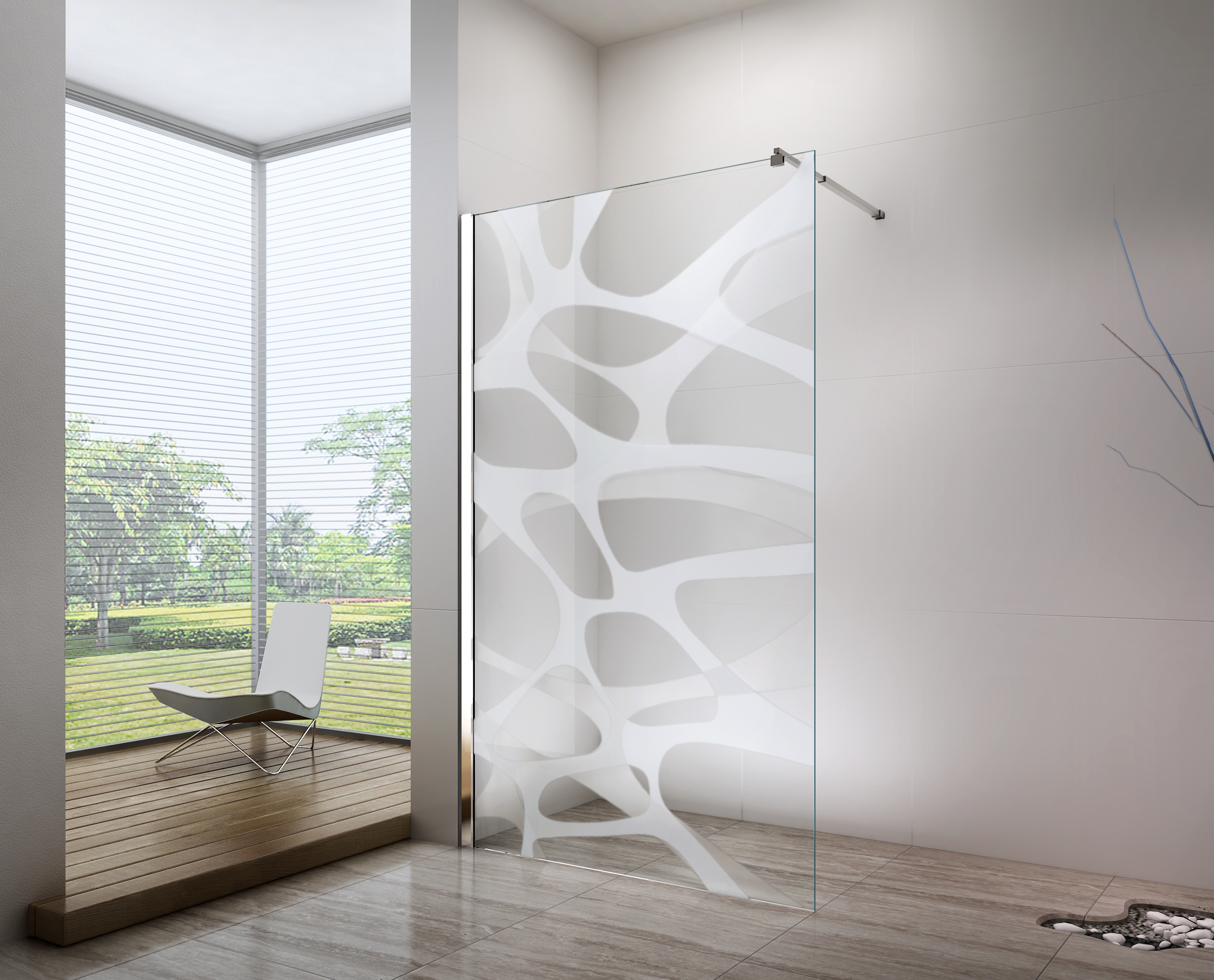 Nano coated Walk-in shower enclosure EX101  - 10mm tempered glass with Wave pattern - selectable width