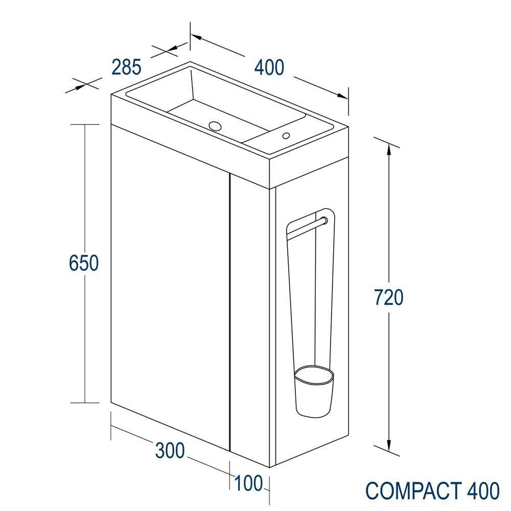 Badmöbel-Set Compact 400 für Gäste-WC - Weiß matt – Bild 7