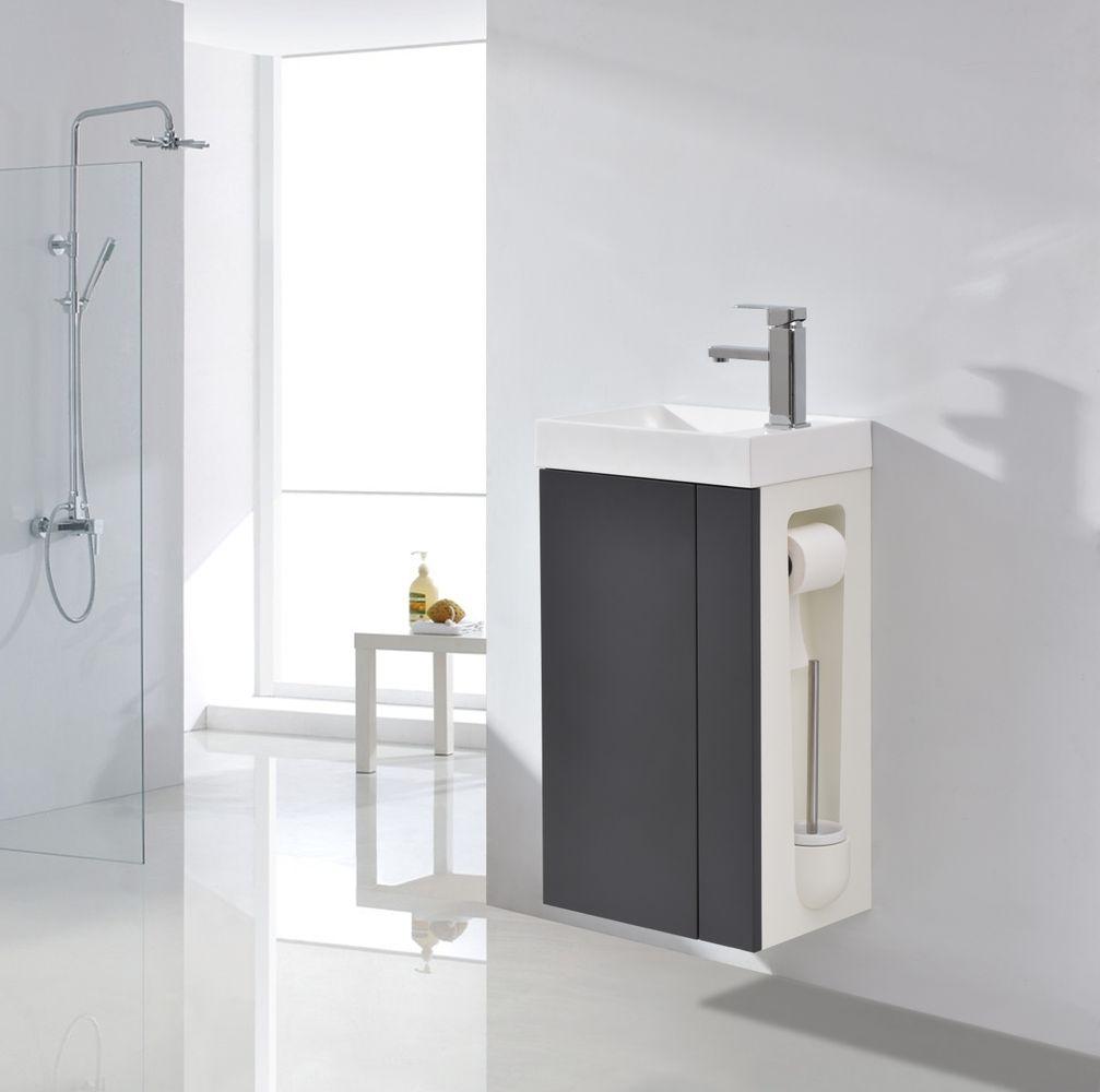 Badmöbel-Set Compact 400 für Gäste-WC - Anthrazit matt – Bild 1