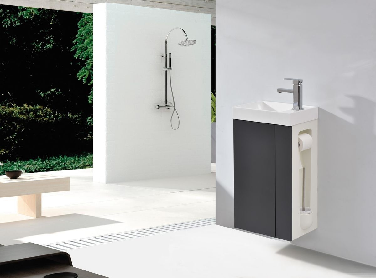 Badmöbel-Set Compact 400 für Gäste-WC - Anthrazit matt – Bild 2
