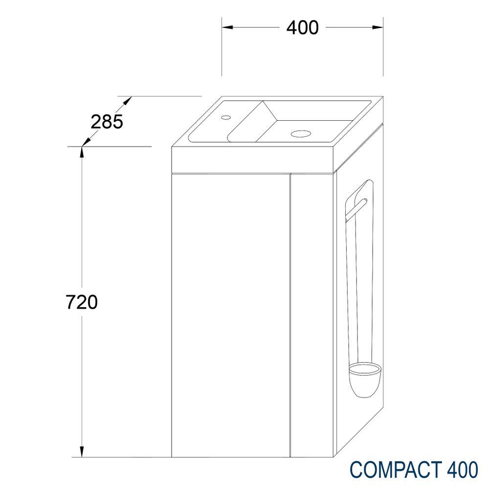 Badmöbel-Set Compact 400 für Gäste-WC - Anthrazit matt – Bild 4