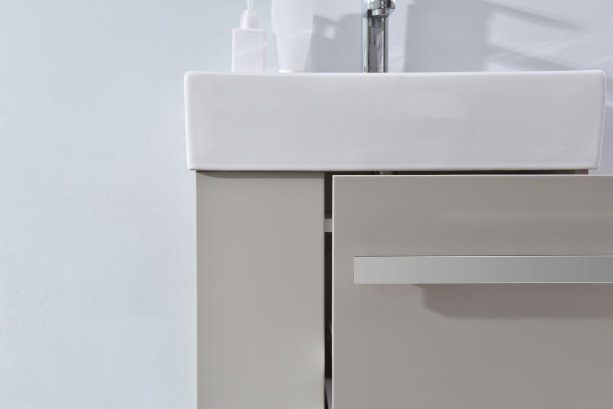 Badmöbel-Set Compact 500 für Gäste-WC - Taupe hell matt – Bild 5