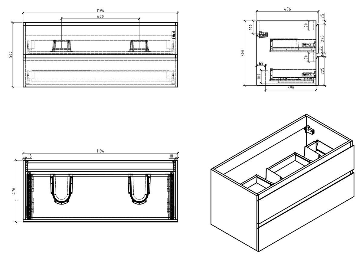 Badmöbel-Set Alice 1200 Weiß hochglanz - Spiegel optional – Bild 7