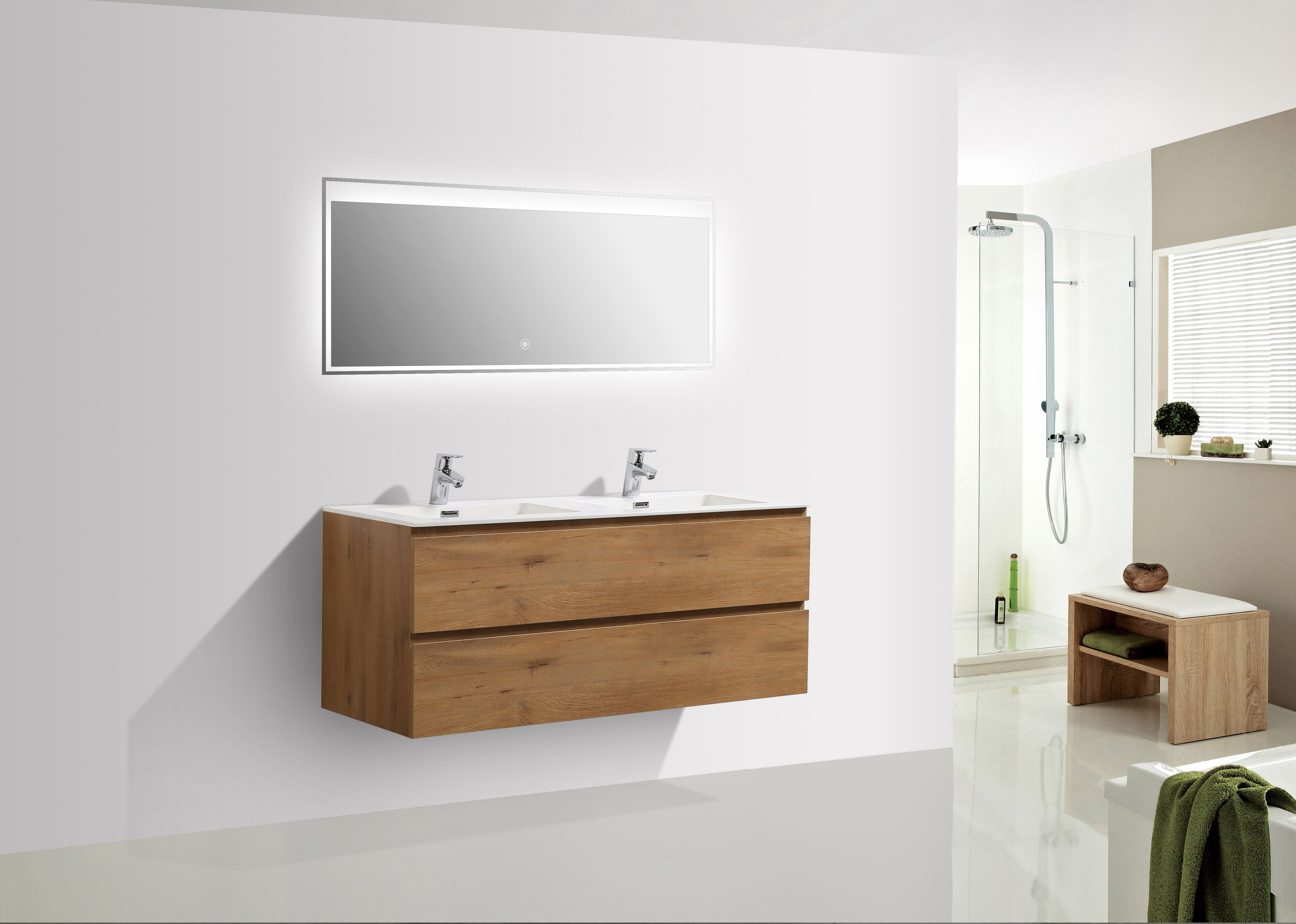 meuble salle de bain alice 1200 couleur ch ne miroir en option le monde de la salle de bain. Black Bedroom Furniture Sets. Home Design Ideas