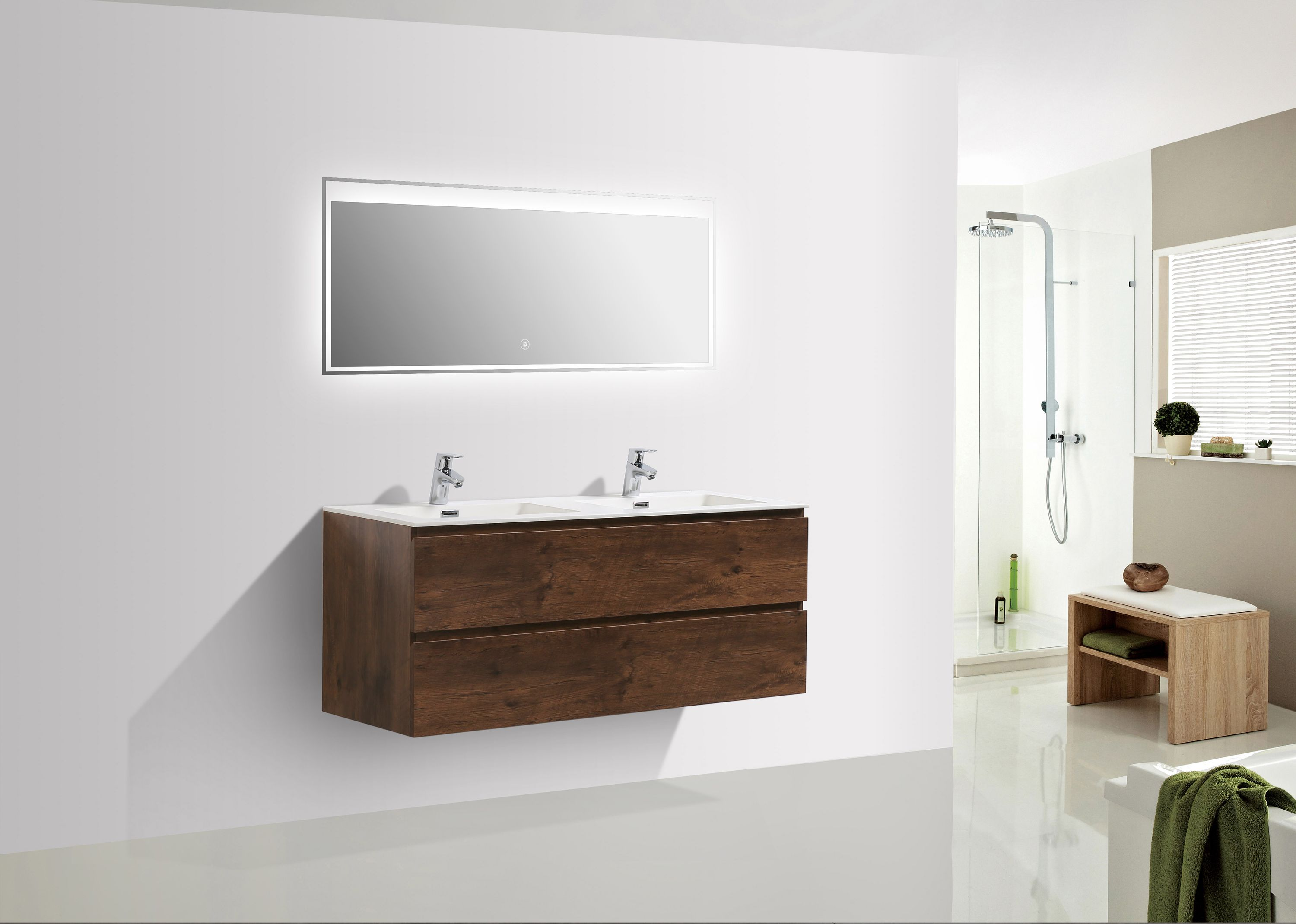 meuble salle de bain alice 1200 aspect bois fonc miroir. Black Bedroom Furniture Sets. Home Design Ideas