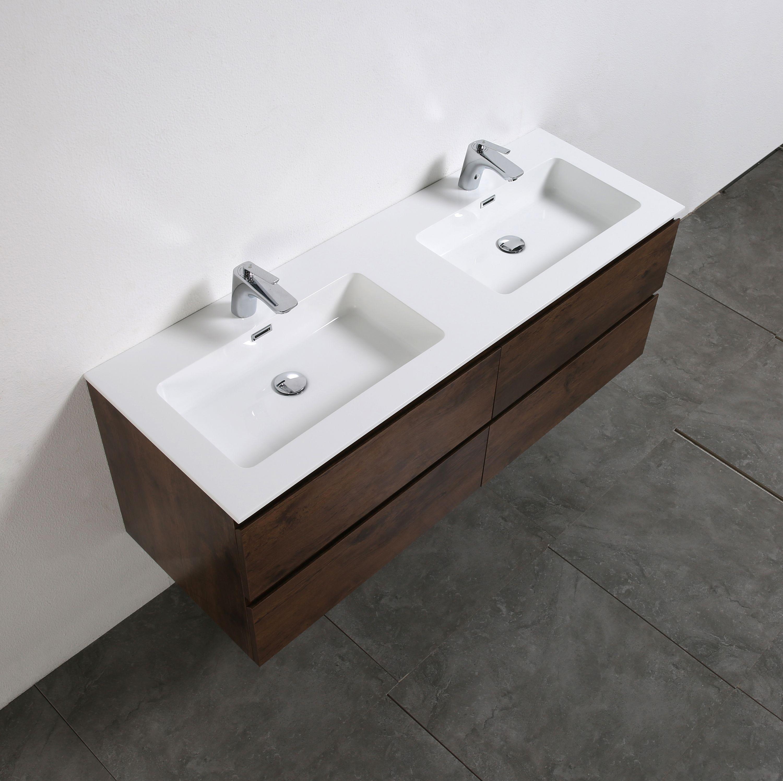 meuble salle de bain alice 1380 aspect bois fonc miroir en option le monde de la salle de. Black Bedroom Furniture Sets. Home Design Ideas