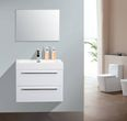 Wall-hung bathroom furniture set M730 white - with aluminium mirror