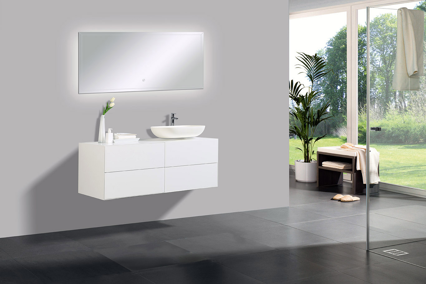 Bathroom furniture set Milou 1200 white matte - optional mirror and basin