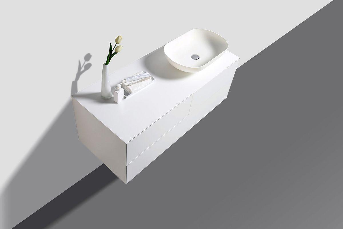 Badmöbel Milou 1200 Weiß matt - Spiegel und Aufsatzwaschbecken optional – Bild 3