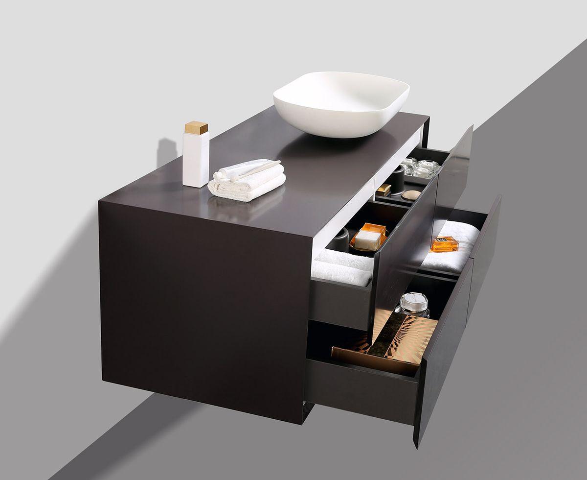 Badmöbel Milou 1200 Coffee matt - Spiegel und Aufsatzwaschbecken optional – Bild 4