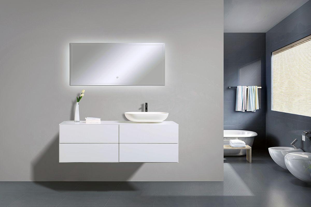 Badmöbel Milou 1400 Weiß matt - Spiegel und Aufsatzwaschbecken optional – Bild 2