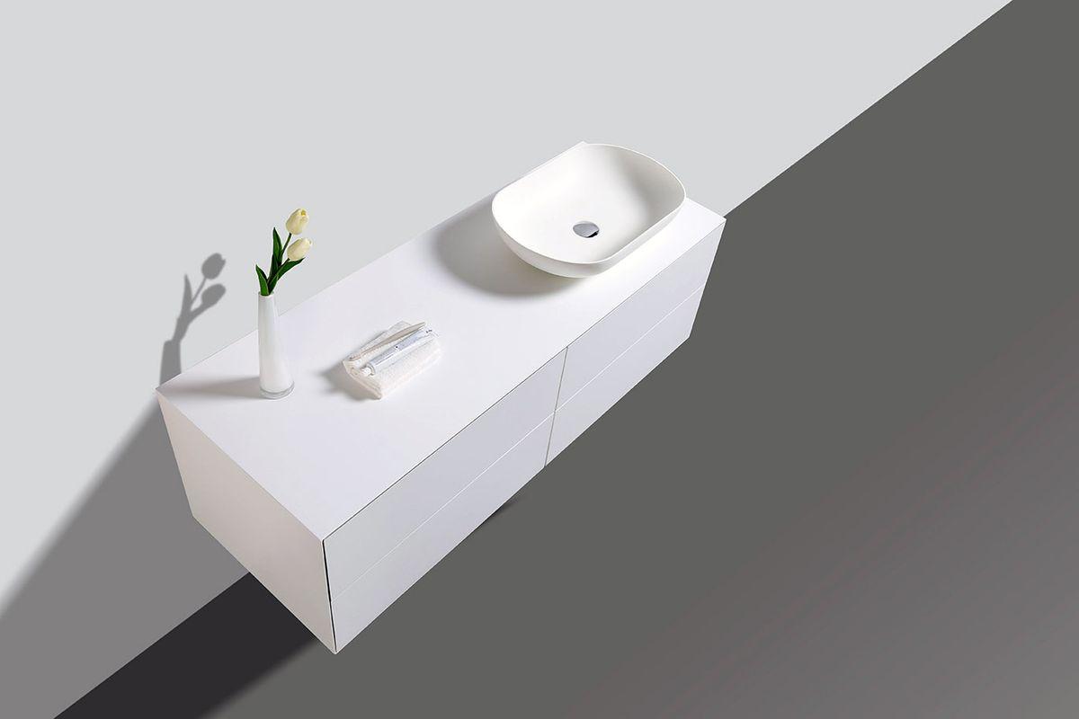Badmöbel Milou 1400 Weiß matt - Spiegel und Aufsatzwaschbecken optional – Bild 3