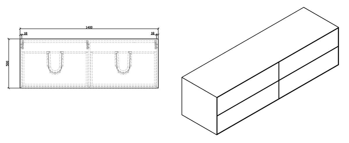 Badmöbel Milou 1400 Weiß matt - Spiegel und Aufsatzwaschbecken optional – Bild 6