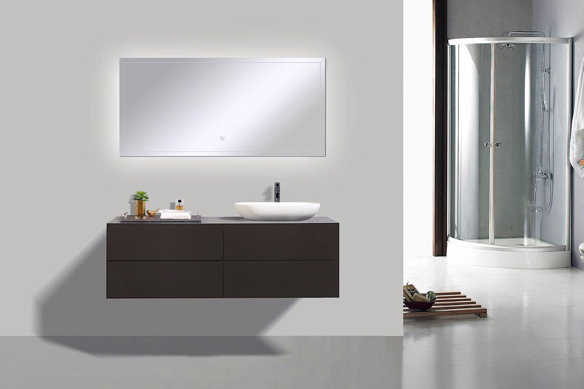 Badmöbel Milou 1400 Coffee matt - Spiegel und Aufsatzwaschbecken optional – Bild 2