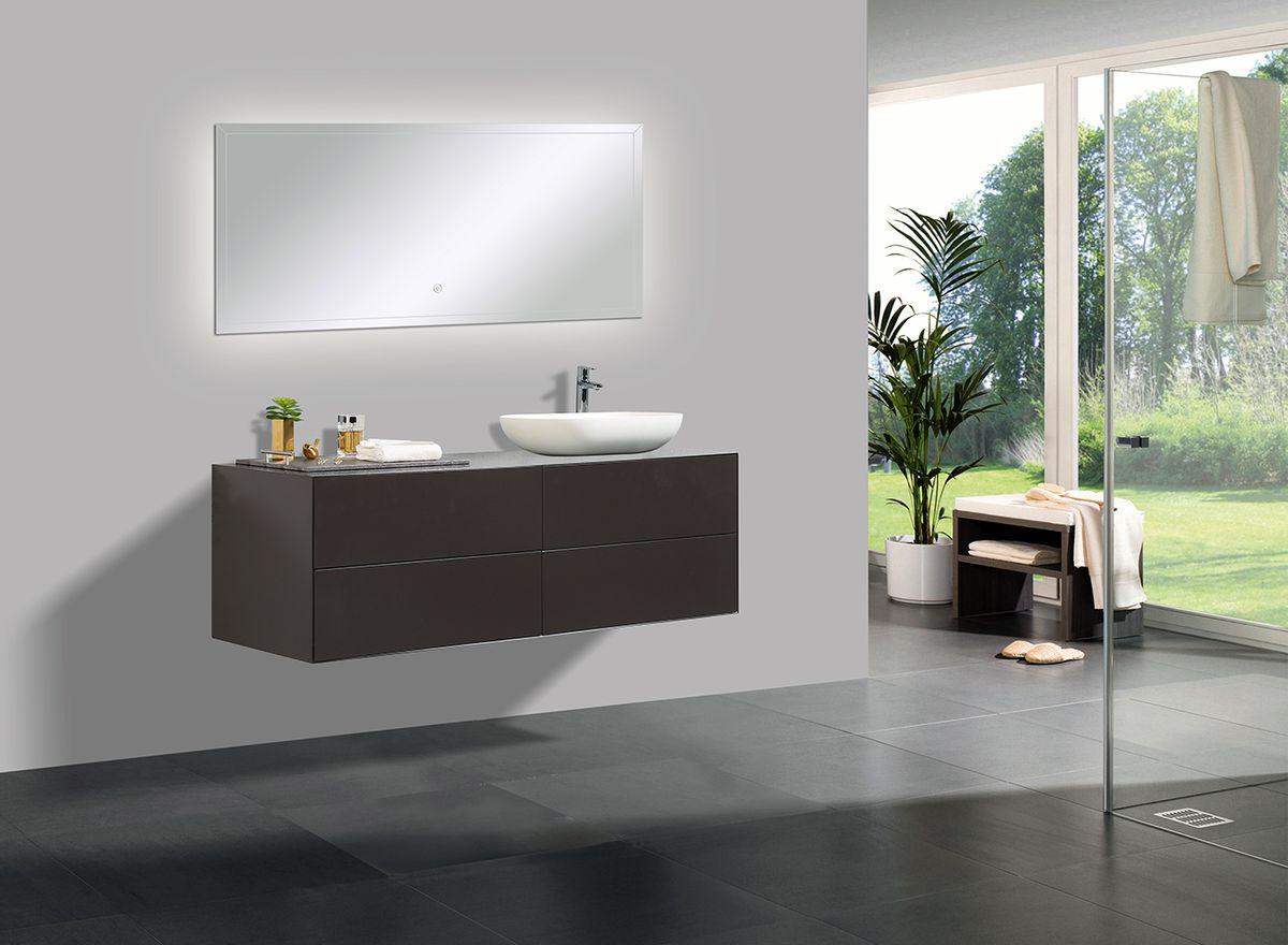 Badmöbel Milou 1400 Coffee matt - Spiegel und Aufsatzwaschbecken optional – Bild 1
