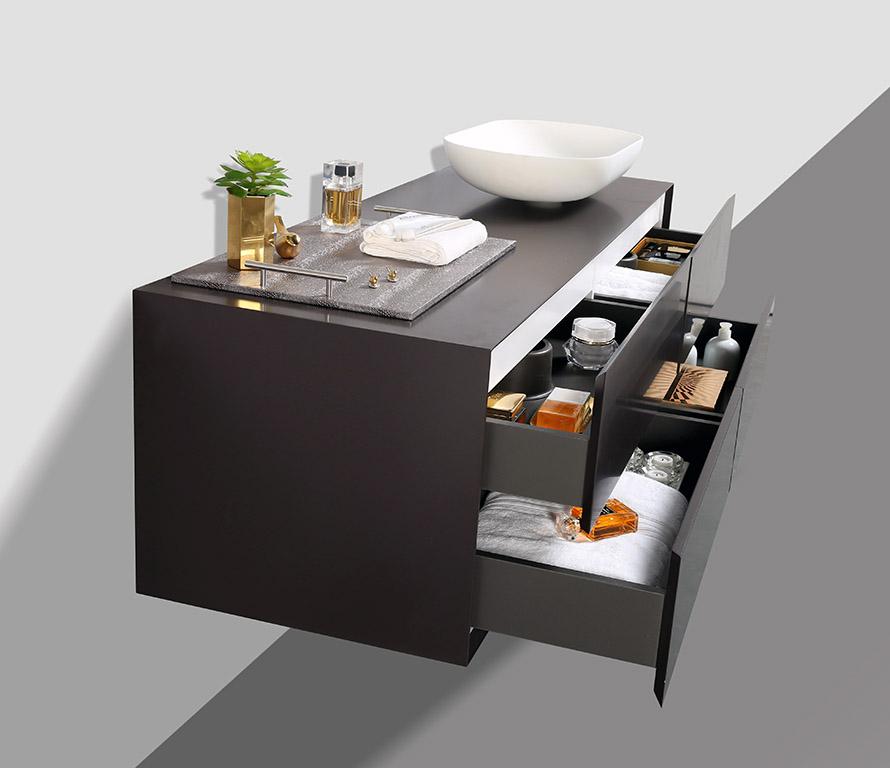 Badmöbel Milou 1400 Coffee matt - Spiegel und Aufsatzwaschbecken optional – Bild 4