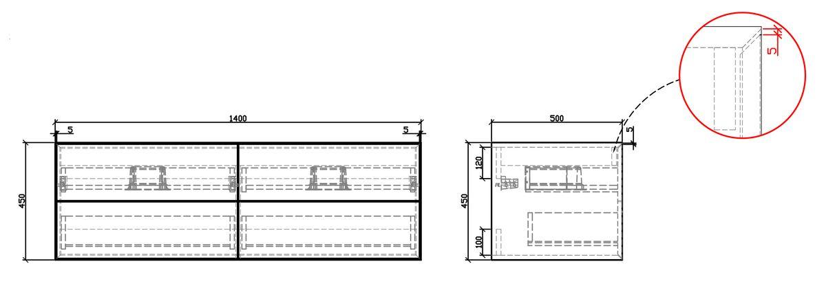 Badmöbel Milou 1400 Coffee matt - Spiegel und Aufsatzwaschbecken optional – Bild 6