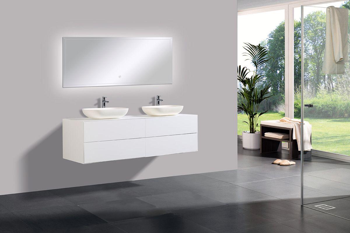 Badmöbel Milou 1600 Weiß matt - Spiegel und Aufsatzwaschbecken optional – Bild 1