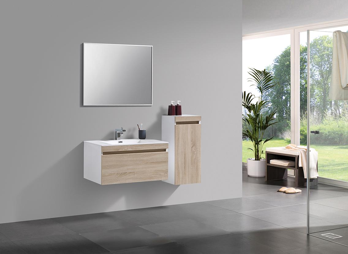 Ensemble salle de bain Easy 800 blanc - façade couleur chêne clair - en option miroir et meuble mural