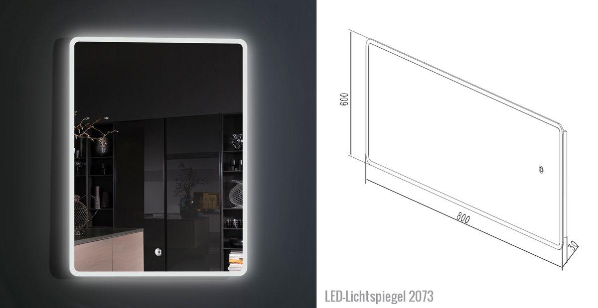 Badmöbel-Set Easy 800 Weiß - Front Eiche hell - Seitenschrank und Spiegel optional – Bild 10