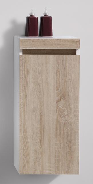 Badmöbel-Set Easy 800 Weiß - Front Eiche hell - Seitenschrank und Spiegel optional – Bild 6
