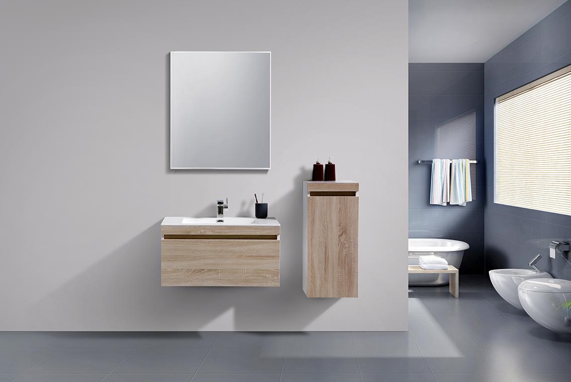 Badmöbel-Set Easy 800 Weiß - Front Eiche hell - Seitenschrank und Spiegel optional – Bild 2