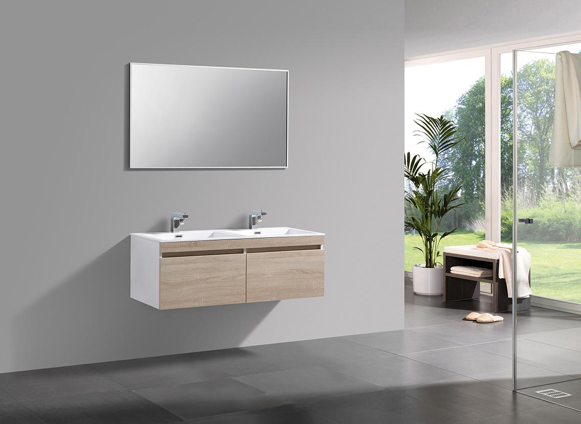 Badmöbel-Set Easy 1200 Weiß - Front Eiche hell - Seitenschrank und Spiegel optional