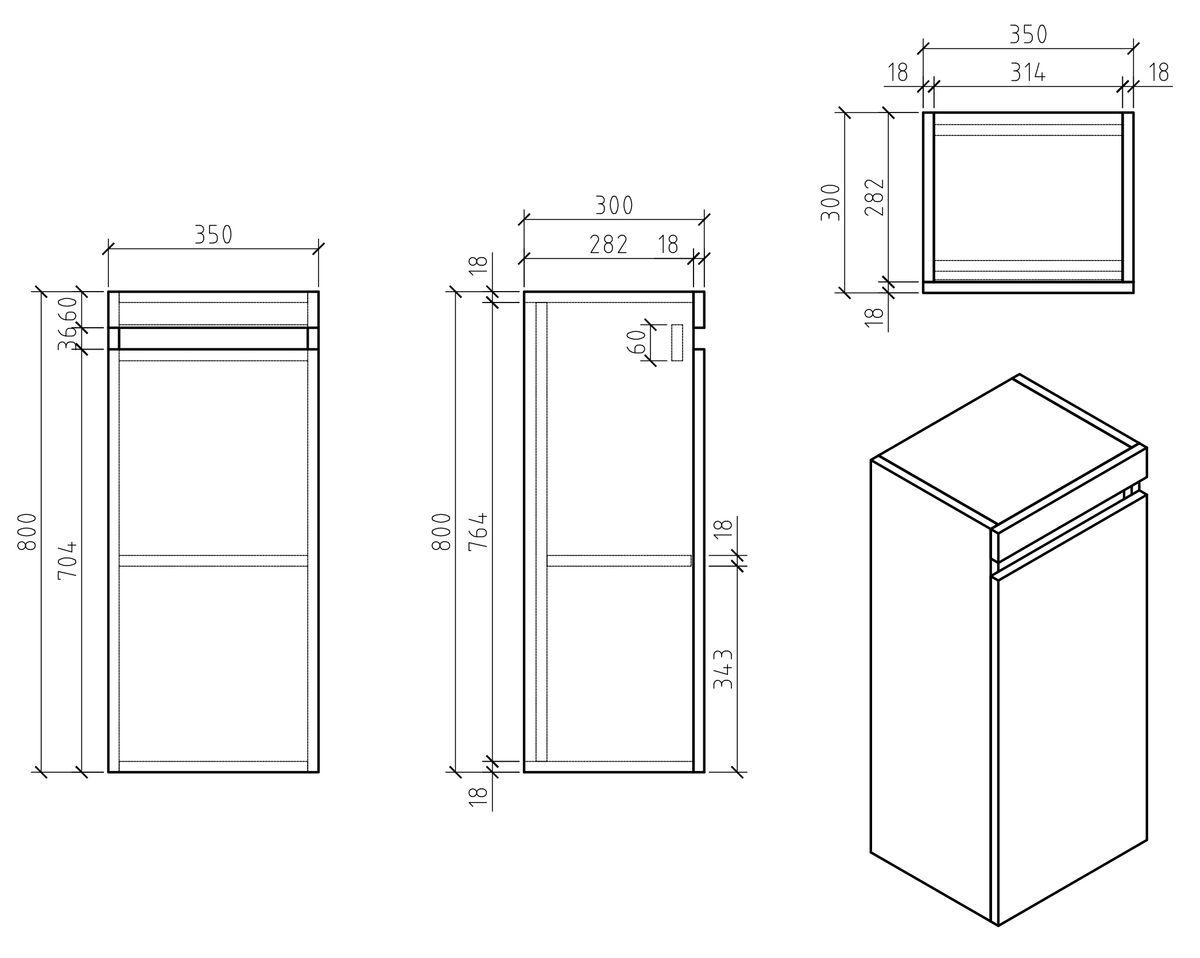 Badmöbel-Set Easy 1200 Weiß - Front Eiche hell - Seitenschrank und Spiegel optional – Bild 9