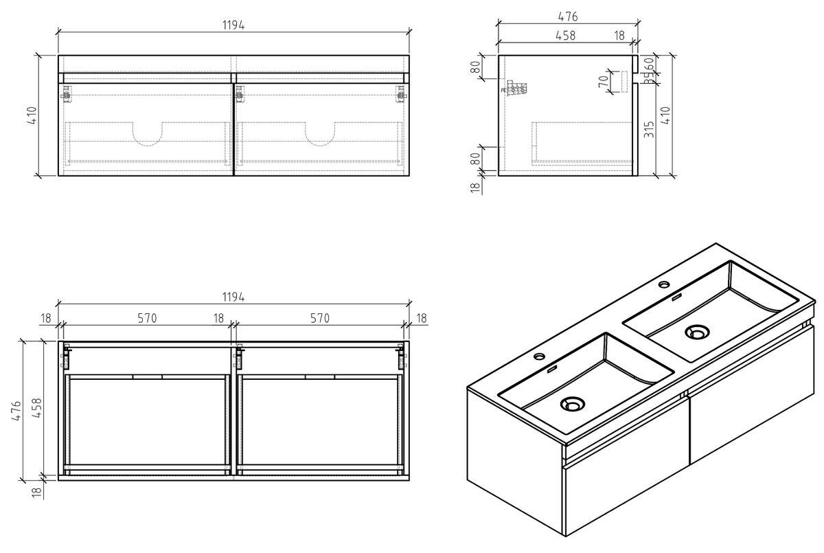 Ensemble salle de bain Easy 1200 blanc - façade couleur chêne clair - en option miroir, armoire de toilette et meuble mural – Bild 5