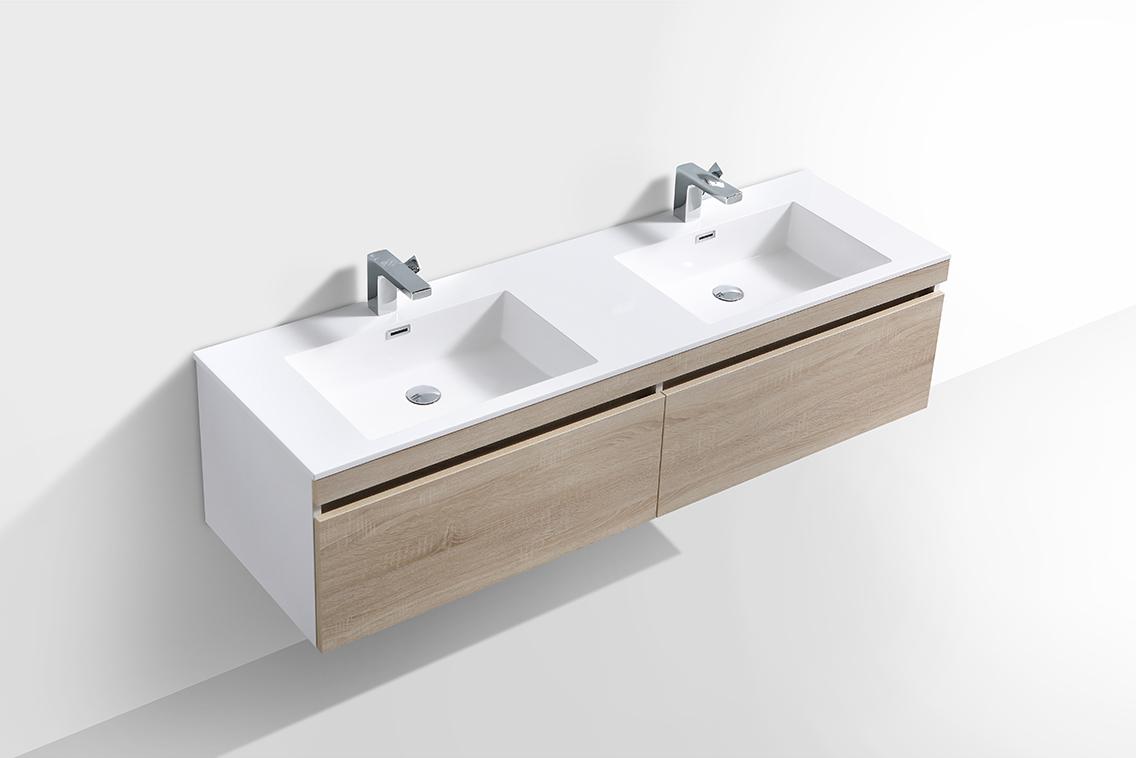 Badmöbel-Set Easy 1600 Weiß - Front Eiche hell - Seitenschrank und Spiegel optional – Bild 3